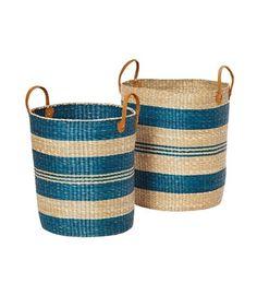 Set de 2 cestas circulares con asa en color beige y azul