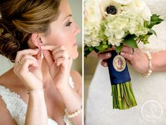 Beautiful jewelry and photo on the brides bouquet wedding day details York Maine Wedding for more inspiration visit http://www.theweddingbelle.net ViewPoint Weddings
