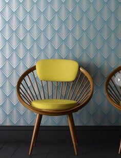 This metallic and teal wallpaper pattern from Graham & Brown is perfect for adding an Art Deco touch to a  room or accent wall.
