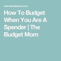 How To Budget When You Are A Spender   The Budget Mom