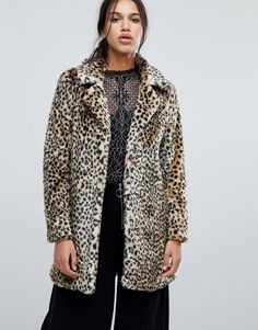 Parisian Faux Leopard Fur Coat - Brown