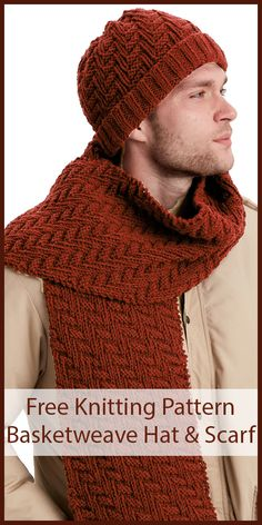 Free Knitting Pattern for Basketweave Hat and Scarf Set - Matching hat and scarf features a reversible diagonal zigzag pattern that looks just as attr Mens Scarf Knitting Pattern, Mens Knitted Scarf, Knit Hat For Men, Easy Knitting, Knitted Hats, Beginner Knitting, Strick Cardigan, Hat And Scarf Sets, Knits