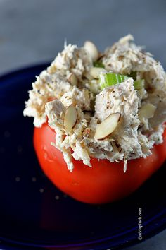 Chicken Salad Stuffed Tomatoes from addapinch.com... Robyn is right, when you add sliced green grapes, red apples with the almonds, it just brings this to another level!!! I love to add canned water chestnuts instead of the celery, which my mom can't eat...it's SO good!!