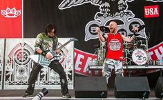 COLUMBUS, OH - MAY 18: Zoltan Bathory (L) and Ivan Moody of Five Finger Death Punch performs during 2014 Rock On The Range at Columbus Crew Stadium on May 18, 2014 in Columbus, Ohio.