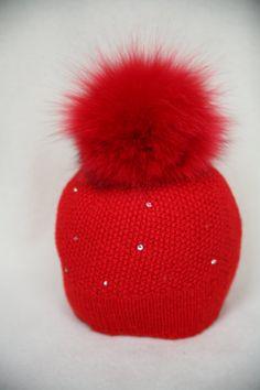 1a6e18593a8 Red Merino Wool Hat Fox Fur Pom Pom Red by HandmadeKnitsHats