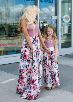 012d11fd367 Mommy More Than A Feeling Floral Bottom Maxi Dress Mauve