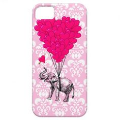 Funny cute elephant & pink damask iPhone 5 cases $42.95