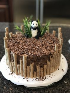 Panda birthday cake by Erin Farley – Torten und Cupcakes – Kuchen Rezepte und Desserts Panda Birthday Cake, Birthday Kids, Easy Kids Birthday Cakes, Amazing Birthday Cakes, Bithday Cake, Cupcake Birthday Cake, Diy Jungle Birthday Cake, Birthday Cake Designs, Strawberry Birthday Cake