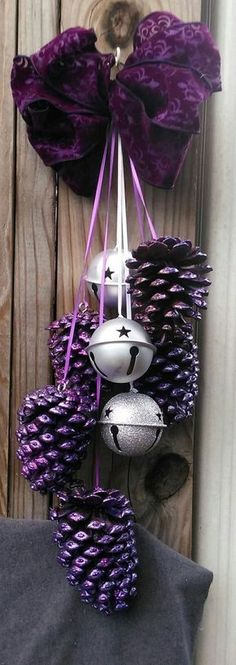 Glitter Purple Pinecones With Swag