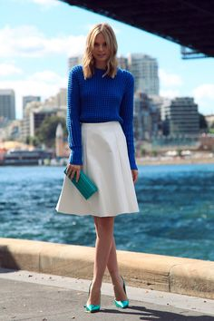 The Look: Tuula Vintage Street Style (via her blog) Sweater: Acne Lia Solid Chunky Jumper $313, Topshop Crop Sweater $45 Skirt: ASOS High Shine Midi Skirt $45  Clutch: Jimmy Choo Sweetie Glitter Clutch $750  Pumps: Jimmy Choo Anouk Pointy Toe Pumps $995