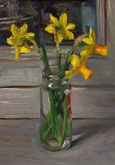 daily painting titled Jonquils in a spice jar