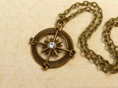 Kompass Halskette in blau bronze Navigation von Schmucktruhe
