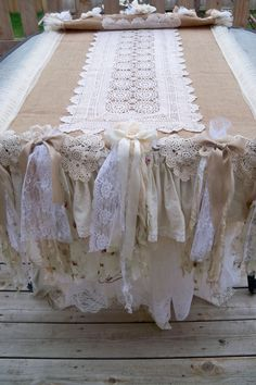 Long burlap runner or table cloth shabby chic by AnitaSperoDesign