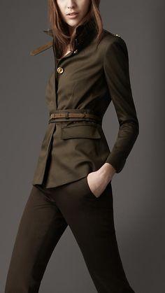 Burberry Suede Trim Military Jacket