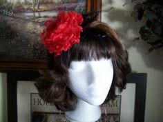 Red Peony Fascinator Headband Vintage by bloomsfromtheheart, $18.00