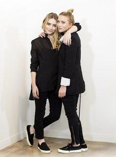 Olsens Anonymous Blog Mary Kate Ashley Olsen Twins Best All Black Looks Superega Sneakers Sheer Button Down Blazer Ankle Zip Pants