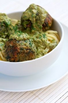 Vegan Spinach Balls with Pesto Sauce. SO GOOD! had for dinner on top of quinoa. The boys had it with their spaghetti.
