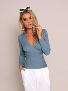 Pilates Ribbed Top - Blue | Gingham & Heels