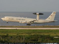 A rare photo of a U.S. Air Force E-3B Sentry on finals to runway 29. The plane my son programs