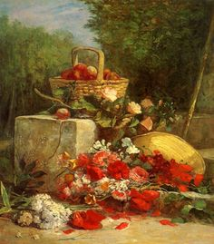 cavetocanvas:    Eugène Boudin, Flowers and Fruit in a Garden, 1869