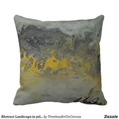 Shop Abstract Landscape in yellow - Throw Pillow created by TimelessArtOnCanvas. Yellow Birthday Parties, Yellow Throw Pillows, Wedding Pillows, Abstract Landscape, Custom Pillows, Outdoor Blanket, Knitting, Pattern, Fabric