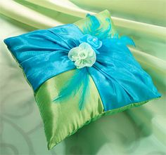 Turquoise and Green wedding ring pillow