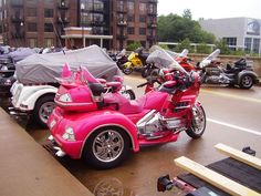 Goldwing trike in pink! Too bad it's a Honda. Cafe Racer Girl, Cafe Racer Build, Goldwing Trike, Pink Motorcycle, Honda, Girly Car, Toys For Girls, Girl Toys, Cars And Motorcycles