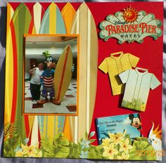Handmade scrapbook Layout: Bo Bunny-Beach Therapy, Paradise Pier Hotel, Disneyland, California, Surf Board, Goofy