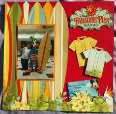 Handmade scrapbook Layout: Bo Bunny-Beach Therapy, Paradise Pier Hotel, Disneyland, California, Surf Board, Goofy