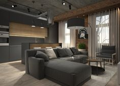These homes make use of the classic exposed brick design element but manage to bring it into harmony with their otherwise modern styling. Home Living Room, Interior, Apartment Design, Living Room And Kitchen Design, Bedroom Design, Trendy Living Rooms, House Interior, Modern Bedroom, Interior Design
