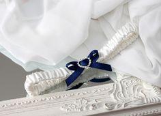 dark blue wedding garter for bride - Handmade_by_Donna - Podwiązki