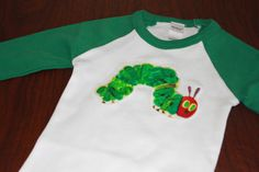 Long sleeve raglan t-shirt with Very Hungry Caterpillar - 100% cotton streachy knit - 12 months, 18 months, 2T, 4T, 6, 8, 10 or 12