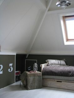 Maybe this is the colour my bedroom walls should be? Three wall colors: white, army green, and tan