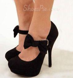 Amazing Black Suede Lovely Bowtie Platform High Heel Shoes