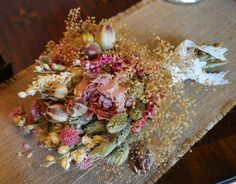 Beautiful Dried Wedding Bouquet of Pink Peonies Larkspur Babys Breath  -Great for Wedding or Home Decor - Made to Order by ArtistryinFlorals on Etsy https://www.etsy.com/listing/206588149/beautiful-dried-wedding-bouquet-of-pink