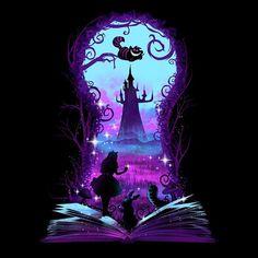 Book of Wonderland (Alt) - Men's Apparel - Negative Space/Art/Drawing Disney Kunst, Disney Art, Disney Pixar, Dark Disney, Alice In Wonderland Drawings, Alice And Wonderland Quotes, Wonderland Party, Wallpaper Iphone Disney, Cute Disney Wallpaper