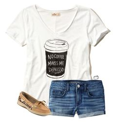 """""""ootd"""" by aletphobia ❤ liked on Polyvore featuring Hollister Co., American Eagle Outfitters, Sperry and Pandora"""