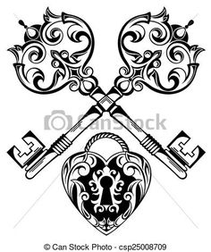 Vector Clipart of Tattoo Design of Lock ands Key - Lock ands Key ...