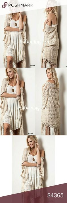 """🆕CROCHET DETAILED KNIT FRINGE KIMONO **ARRIVED* VERY WELL MADE TOP QUALITY  GORGEOUS CROCHET  KIMONO WITH DETAILED KNIT PATTERN  & ATTACHED FRINGE TASSELS , ADDITIONAL FEATURES INCLUDING A   FEMANINE SCALLOPED HEMLINE ON THE ARMS. SEXY ON OR OFF THE SHOULDER, PAIRS WELL W/ DRESSES, SHORTS, A DEFINITE CLOSET STAPLE. USE YEAR ROUND.  SEE SZ. CHART- FOR FIT & SIZE REFERENCE LENGTH APPX 42""""  MATERIAL: SOFT  45% POLY/ 55%COTTON. . BUNDLE FOR A DISCOUNT Stunning_29 Sweaters Shrugs & Ponchos"""