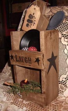 PRIMITIVE FARMHOUSE LAUGH STAR BOX SHELF OPEN CUPBOARD GATHERING TIN BOWL BALL