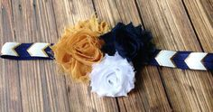 Notre Dame Navy and Gold Chevron Shabby Flower Headband, Baby Headband, Toddler…
