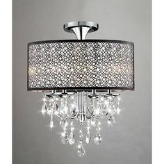 bronze drum chandelier with crystals - Google Search