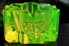 ART DECO STYLE BOHEMIAN URANIUM YELLOW ART GLASS ASHTRAY | eBay