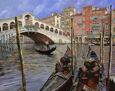 Il Ponte Di Rialto by Guido Borelli - Il Ponte Di Rialto Painting - Il Ponte Di Rialto Fine Art Prints and Posters for Sale
