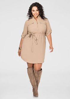 Belted Textured Shirtdress                                                                                                                                                                                 More