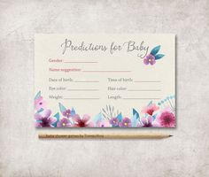 Predictions for Baby Card Printable, Floral Baby Shower Games, Boho Baby Shower Predictions Card, Printable Prediction Card, Digital File - pinned by pin4etsy.com