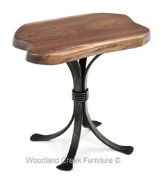 Thick Metal Side Table with Natural Wooden Top by Woodland Creek Furniture.