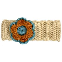 Made by Myang. Girls Winter headband - crocheted - rich cream with Cyan and Ochre flower. Available in month, month, and year sizes. Winter Headbands, Hand Knitting, Boy Or Girl, Winter Outfits, Ships, Cream, Crochet, Girls, Clothing