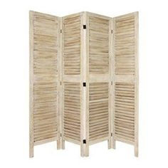 Oriental Furniture Classic Venetian 4 Panel Burnt White Wood Folding Indoor Privacy Screen Fj Ven 4p Bwht