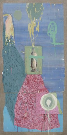 "Henrik Drescher, Big Rock Candy Mountain 9, Tempera, oil enamel, collage on wood veneer mounted on linen canvas, 52"" x 25"""